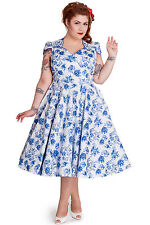 Hell Bunny Constance 50's Dress Rockabilly  Toile Vintage BLUE Pinup Plus Size