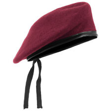 Army Tactical Classic Beret Military Style Mens Hat Unisex Cap Wool Claret Red