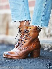 Free People Bed Stu Miner Lace Up Oath Ankle Tan Rustic Leather Boots