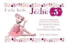 "Personalised Angelina Ballerina Party invitations 6""x4"" No envelopes"