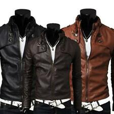 NEW Mens Stand Up Collar Motorcycle PU Leather Short Coat Jacket Slim Fit Black
