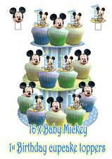 16 wafer commestibile carta BABY DISNEY MICKEY MOUSE BOYS BLUE 1st Compleanno standups
