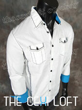 NWT! Mens ROAR WOVEN shirt INSIGHTFUL in WHITE w/ Black Trim Button Up W90017