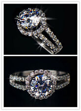18K White Gold Plated 2 carat Swiss Cubic Zirconia 2 Bands Halo Engagement Rings