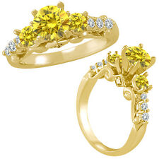 1.5 Ct Yellow Diamond 3 Stone Eternity Engagement Wedding Ring 14K Yellow Gold
