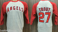 LOS ANGELES ANGELS OF ANAHEIM MIKE TROUT 3/4 SLEEVE RAGLAN JERSEY SHIRT