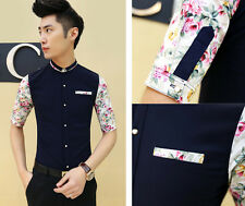 New Men's Fashion Floral Half Sleeve Mod Slim Fit Button Front Casual Shirt Top