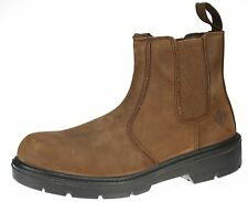 ET Safety Brown Real Leather Steel Toecap and Midsole SBP Dealer Chelsea Boots