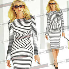 Women Summer Striped Bodycon Slimming Casual Party Wear to Work Pencil Dress 548