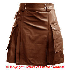 Mens Real BROWN Leather Gladiator Pleated Kilt FLAT FRONT & TWIN CARGO POCKETS