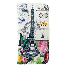 Postcard Eiffel Tower Flip Card Slot Leather Case Cover Stand For Mobile Phones