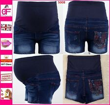 Blue Denim Jeans Maternity Shorts Summer Over Under Bump Pregnancy UK 8-14 -S008