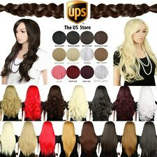US Seller Real Heat Resistant full wig 48-71cm Straight Curly Synthetic Wigs 8L
