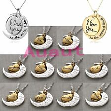 "Nice Gold/Silver Family""I LOVE YOU TO THE MOON AND BACK ""Necklace Charm Pendant"