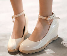 Lovey Women Causal Wedge Platform Patent Leather Ankle Strap Princess Shoes Pump