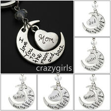 "New hot Chic Family ""I LOVE YOU TO THE MOON AND BACK "" keychain Key Ring Set"