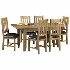 Solid Oak Veneer Extending Extendable Dining Table and Chair Set with 4/6 Seats