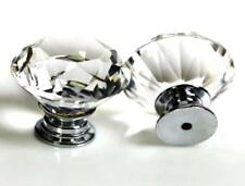 Quality Crystal Glass Door Knobs Drawer Cabinet Kitchen Handle Diamond Shaped