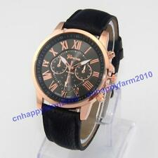 Gift Geneva Roman Numerals Dial Leather Band Casual Sport Men Women Wrist Watch