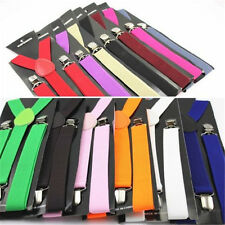 Mens Womens Elastic Clip-on Solid Color Y-Shape Adjustable Braces Suspenders 01a