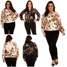 Womens Plus Size Chiffon Floral Wrap Top Bangle Cuff Sleeve Long Blouse 16-20