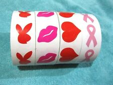 Lot of 50 Tanning Stickers: 3-Way Hearts,Kiss/Lips, Playboy Bunny ,Breast Cancer