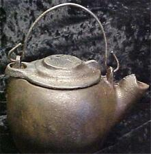 "Cast Iron Tea Pot-Vintage-Residue Inside-Smallest One I've Seen-5"" Tall = 11462"