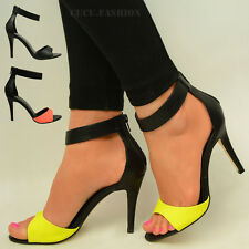 Womens Ladies Strappy Stiletto High Heel Sandals Ankle Strap Cuff Shoes Size UK
