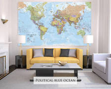 Giant Sized Canvas World Map - Political Blue Ocean
