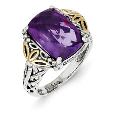 Amethyst Antique Ring Sterling Silver w/ 14K Gold Accent Size 6 - 8 Shey Couture