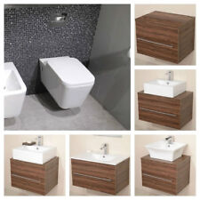 Back To Wall Toilet Walnut Bathroom Vanity Unit Counter Top Sink Wash Basin Hung