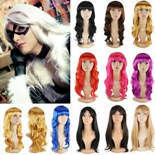 Party Cosplay Full Bangs Wigs 50cm Short Straight Curly Wig Fancy Party Dress CA