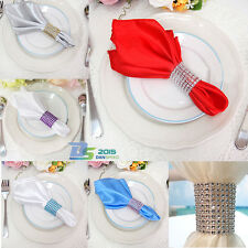 Rhinestone 8 Row Wedding Mesh Bling Napkin Ring Party Sash Holder Decor Colors
