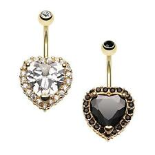 Extravagant Heart Belly Ring Black Gold Clear Naval Body Jewelry CZ Gem Sexy