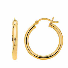 925 Sterling Silver Yellow Finish Shiny Round Hoop Earrings