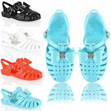 Kids girls summer holiday flat diamonte bow buckle jellies jelly sandals size