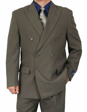 SHARP 2pc DOUBLE BREASTED DB MEN DRESS SUIT GRAY 50R-62L tb06