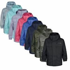 Trespass PACKA Kids Boys Girls Windproof Rain Coat Waterproof Jacket