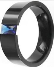 SZ 7-14 Men Stainless Steel Ring Band Blue Sapphire Father Husband Wedding Class
