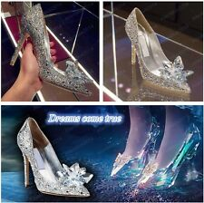 Cinderella Wedding Party Diamond Women's Pumps Ladies Crystal High Heels Shoes
