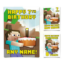 PERSONALISED A5 Birthday Card any NAME and AGE! Steve Cake Craft Gamermash