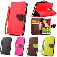 Dual Color leaf Wristlet Card Flip Leather Stand case cover For LG Smart Phones