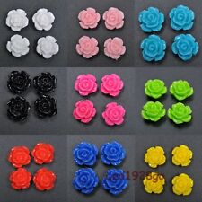 Hot 10/15/20 Pcs Gorgeous Rose Flower Coral Resin Spacer Beads 10/12/15mm U Pick