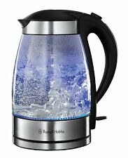 Russell Hobbs Kettle 1.7L Clear Glass Illuminating Consealed Element   NEW