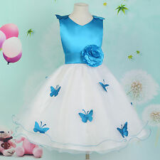BLUE Princess Flower Girls Bridesmaid Pageant Party Wedding Prom Dress Age 7-12