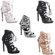 Womens Ladies Lace Up Strappy Cut Out Stiletto High Heel Platform Sandals Size