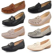 Womens Ladies Loafers Low Wedge Heel Casual Work Office Moccasins Shoes Size UK