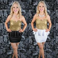 Gold Sequin Stretch Mini Bodycon Peplum Strapless Evening Prom Ball Party Dress