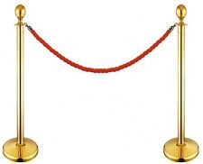 TWO GOLD QUEUE BARRIERS POST SECURITY SAFETY STANCHIONS ROPE DIVIDERS STEEL SET