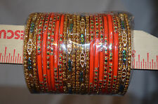 NEW INDIAn CHUDIS-Big lot of 24 Bangles each color size  2.4 and 2.6--Glass